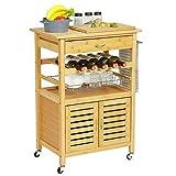 VIAGDO Servierwagen Holz Bambus Küchenwagen auf Rollen, Rollwagen Küchentrolley Küchenrollwagen Beistellwagen, inklusive Schränkchen, Schublade, Flaschenablage, Obstschütte,...