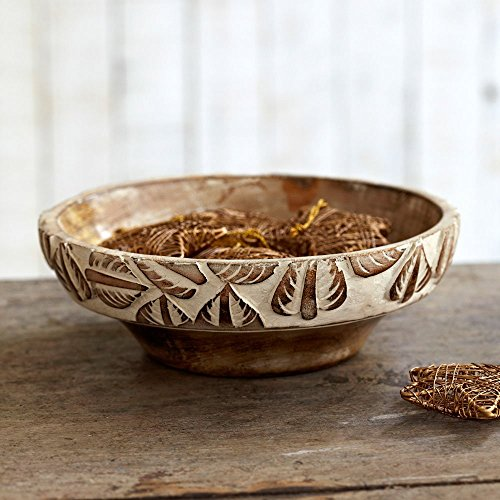 Paper High Antique White Leaf Design Mango Wood Bowl | Fair Trade | Hand Carved | Sustainable Wooden Serving Bowls
