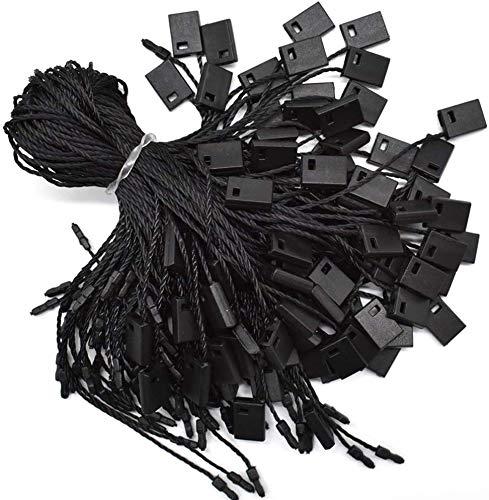 "Hang Tag String Black 7"" 1000Pcs Nylon Snap Lock Pin Loop Fastener Hook Ties Easy and Fast to Attach (Black)"