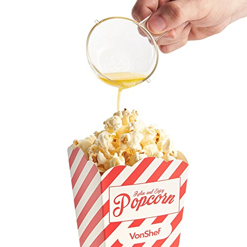 VonShef Popcorn Maker- Electric Hot Air Popcorn Machine- Ideal for Home Cinema- Fat-free & Healthy Snacking (with 4 Popcorn Boxes and Measuring Spoon)