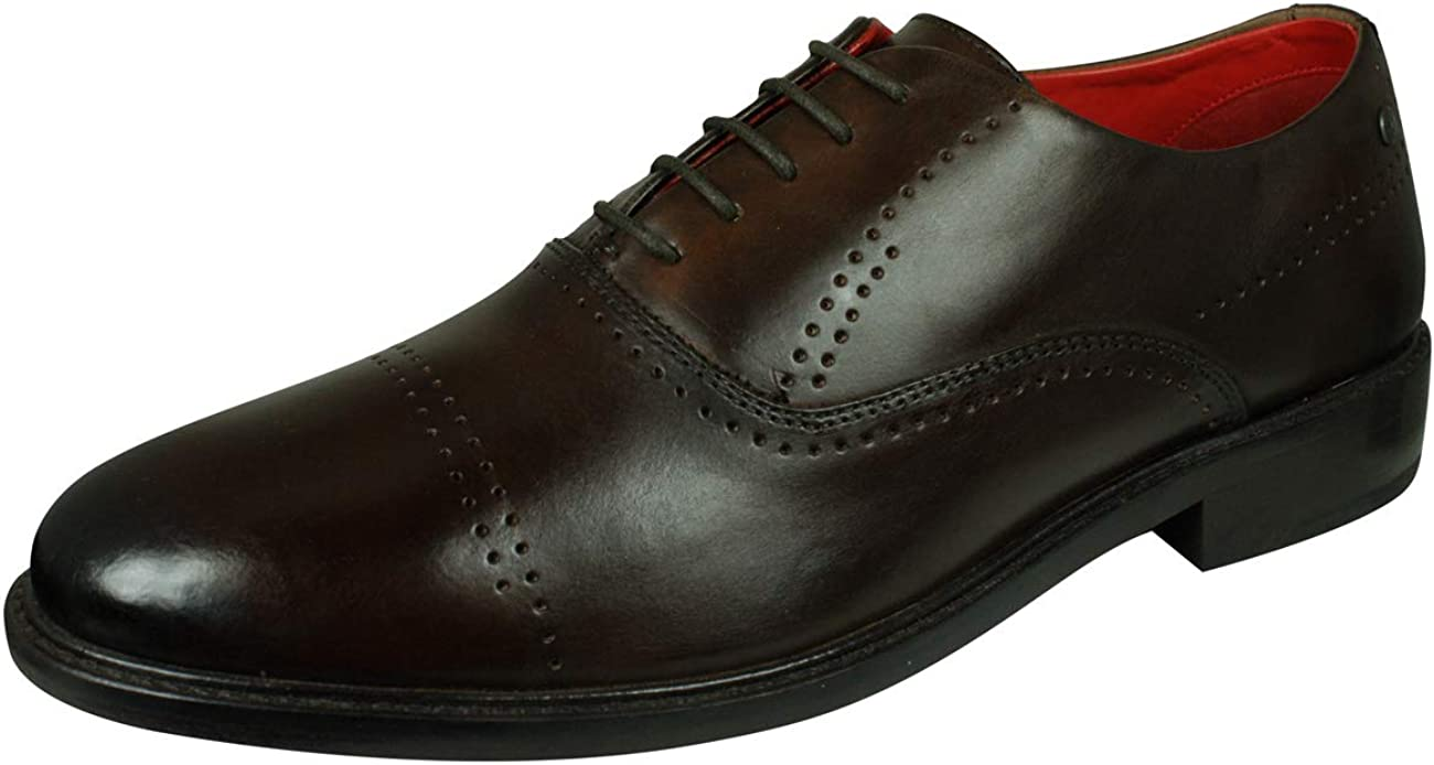 Base London Lyric Mens Leather Shoes Lace-Up Brogue Oxfords-Brown-8