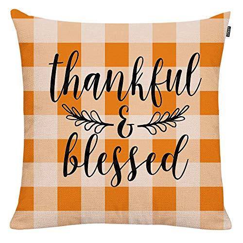 Belle10Bob Funda de almohada de 45,72 x 45,72 cm con texto 'Thank ful & Blessed Whit', funda de almohada de algodón y lino