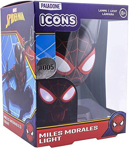 Miles Morales 3D Icon Light BDP | Marvel Spiderman | Lámpara de noche brillante o de escritorio con licencia oficial, regalo perfecto para los fans de superhéroes y cómics | alimentado por 2 pilas AAA