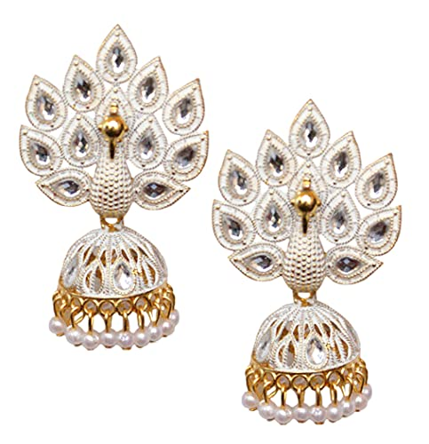Pahal Traditional Jaipur White Pearl Kundan Painted Big Gold Jhumka Earrings Peacock Indian Bollywood Bridal Wear Jewelry for Women