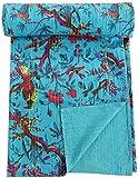 GANESHAM Colcha india bohemia, colcha floral, manta de algodón bordada a mano, tamaño King vintage, hecha a mano, colcha Kantha (228 x 258 cm), color turquesa