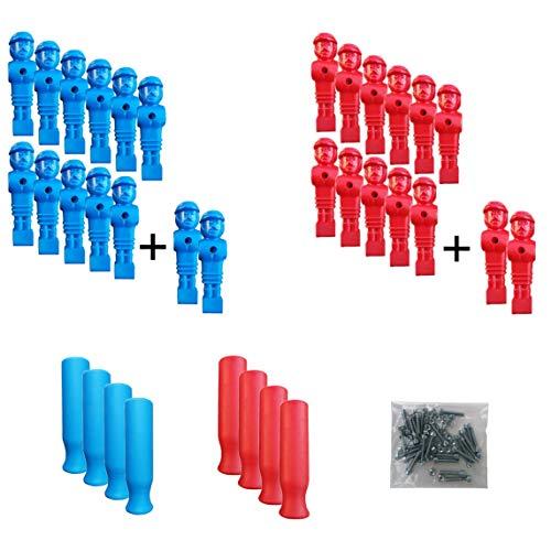 Hochwertiges Profi Tischkicker Set mit 2x11 Loewen Figuren Maenner und 8 ergonomischen Griffen in Rot und Blau sowie 2x2 Ersatzspieler für jeden Tischkicker/Kicker - Schrauben und Muttern inklusive