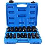 16 piezas Juego de llaves de vaso para destornillador de impacto, Vasos de impacto 1/2 pulgadas...