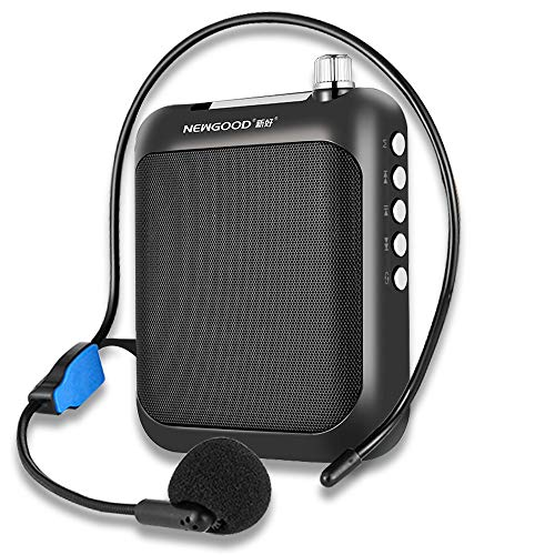 Voice Amplifier with Headset Microphone and Waistband, Portable Rechargeable Mini PA Bluetooth Loud Speaker Support MP3 Format Audio FM for Teachers, Coaches, Tour Guide, Presentation, Yoga