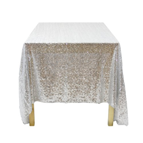 Koyal Wholesale 405007 Rectangle Sequin Tablecloth, 90 by 132-Inch, Silver
