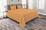 ABAKUHAUS Apfel Tagesdecke Set, Buntes Obst Grafik-Design, Set mit Kissenbezügen farbfester Digitaldruck, 264 x 220 cm, Orange & Vermilion