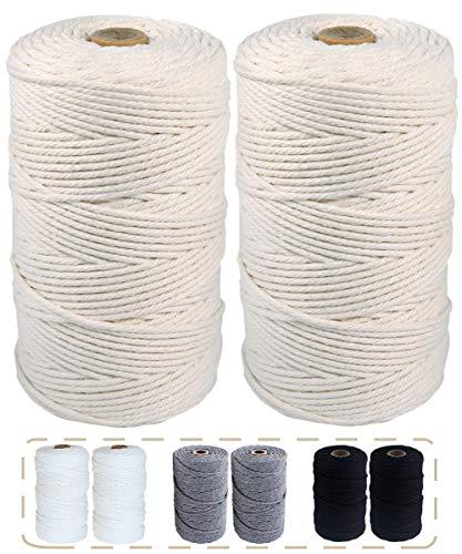 マクラメ ロープ 紐 糸 ナチュラルコットン 直径約3mm 編んで、結んでDIYを楽しもう! (アイボリー, 200m×2個)