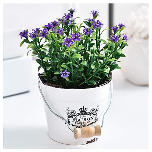 YUAOO Topfpflanzen Künstliche Blumen im Topf Kunststoff Fake Topfpflanzen Bonsai-Kunsthaube mit Keramik-Topf Zuhause für Hochzeit Büro Tischparty a