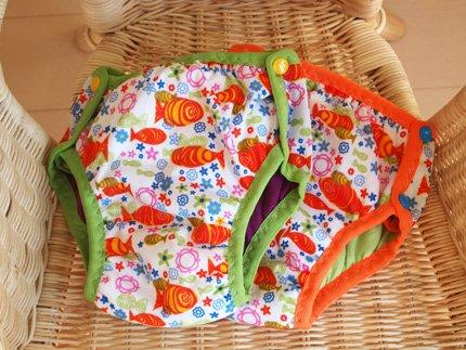 サイズ調整可能! 全面 防水 トレーニングパンツ Goldfish 【 パンツ型 おむつカバー 】