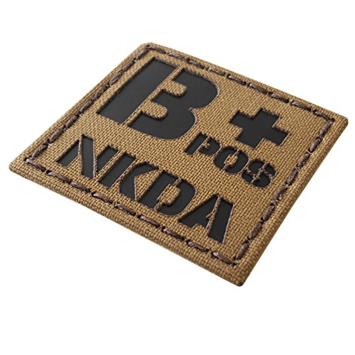 Coyote Brown Tan Infrared IR BPOS NKDA B+ Blood Type 2x2 Tactical Morale Touch Fastener Patch