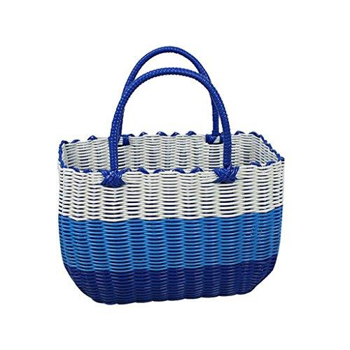 Xuan - Worth Having Bleu et Blanc Tissu en Plastique Fait à la Main Panier à Main Bain Le Panier Panier Panier Pique-Nique Anti-Corrosion (Taille : 38 * 15 * 28cm)
