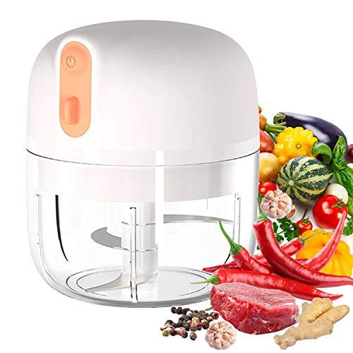 VOUM Electric Mini Knoblauch Chopper, Lebensmittelschneider und Chopper, tragbarer Knoblauchmixer Mini Chopper Küchenmaschine für Knoblauch, Gemüse, Obst, Fleisch, Zwiebeln (250 ml) (weiß)