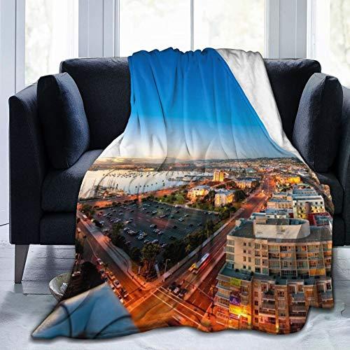 Affordable shop Fleece-Decke, 127 x 152,4 cm, San Diego Stadtlandschaft Alterung, Flanell-Fleece, weich, warm, Plüsch-Überwurf, Decke für Bett/Couch/Sofa/Büro/Camping