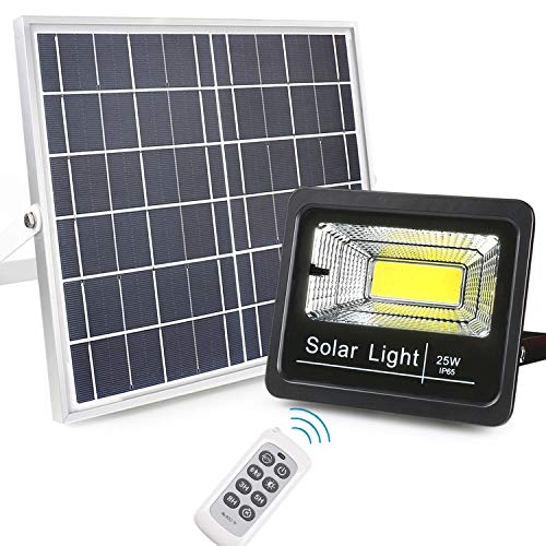 Updated Outdoor Solar LED Flood Lights, Awanber 25W High Brightness IP65 Waterproof Dusk to Dawn Automatic Solar Powered Lights Fixture with Remote for Garden, Driveway, Deck, Swimming Pool,Yard