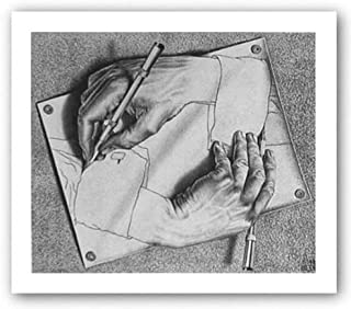 Drawing Hands by M.C. Escher Art Print Poster, Overall Size: 25.5x21.75, Image Size: 21.25x18