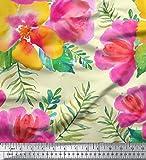 Soimoi Gelb Schwerer Canvas-Gewebe-Blumen-Blumendruck Stoff