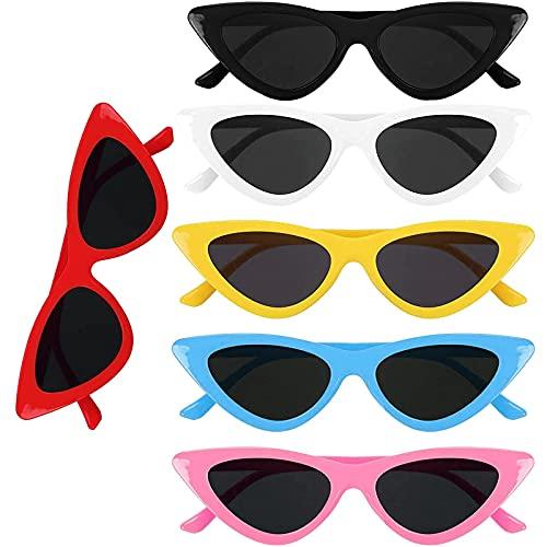 Mikqky 6 Piezas Gafas de Sol Estilo Ojo de Gato Retro, Gafas de Ojo de Gato Con Montura de Espejo, Adecuado para Protección Uv Las Niñas Se Visten para La Colocación de Viajes de Fiesta (6 Colores)