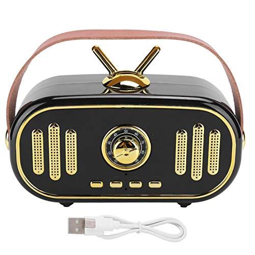 Agatige Mini Radio Reproductor de Música de Tarjeta Enchufable de Altavoz Bluetooth de Radio Recargable Portátil (Negro)