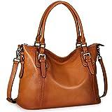 S-ZONE Women's Vintage Genuine Leather Handbag Tote Shoulder Bag Large Capacity