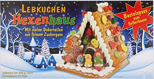 Günthart Lebkuchen Hexenhaus zum Dekorieren und basteln | 6 Lebkuchenteile | 37 Zuckerdekore