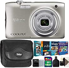 Nikon Coolpix A100 20MP Digital Ultra Slim Digital Camera Silver with Kids Photo Editing and Scrapbooking Collection and More Accessories