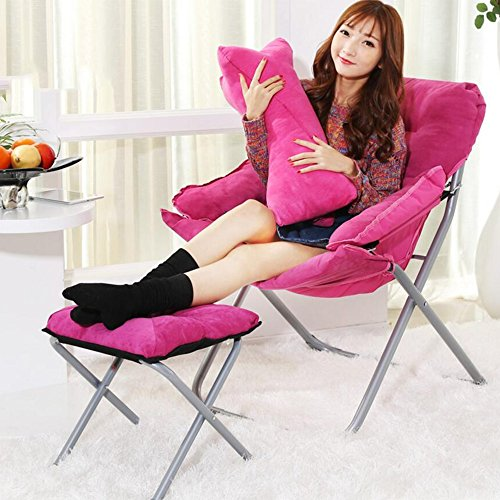Gflyme Kreative Lazy Couch Chair Casual Klapp Schlafsaal Computer Stuhl Startseite Balkon Liege (Color : Pink)