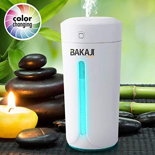 Bakaji - Humidificador de ambiente - Difusor de aromas USB con luz LED - 7 Colores - Ideal para aromaterapia - Ambientador portátil para la casa, el coche - Depósito de 230 ml Bianco
