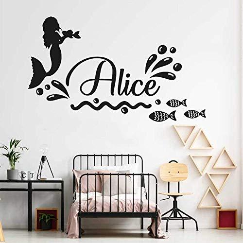 Personalisierte Name Meerjungfrau Aufkleber mit Namen Aufkleber Meerjungfrau Wandaufkleber Wandaufkleber für Baby Mädchen Zimmer Nautische Vorschule Wände Dekor 60CM X 35CM