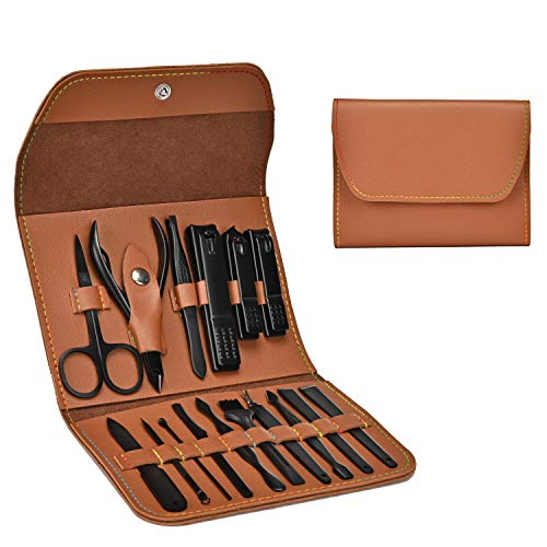 Manicure Set, Professional Stainless Steel Pedicure Nail Clipper Tools Kit with PU Leather Folding Case, 16 In 1 Travel Grooming Care Tool Kits for Women Men Nail Scissors Nail Cutter Set