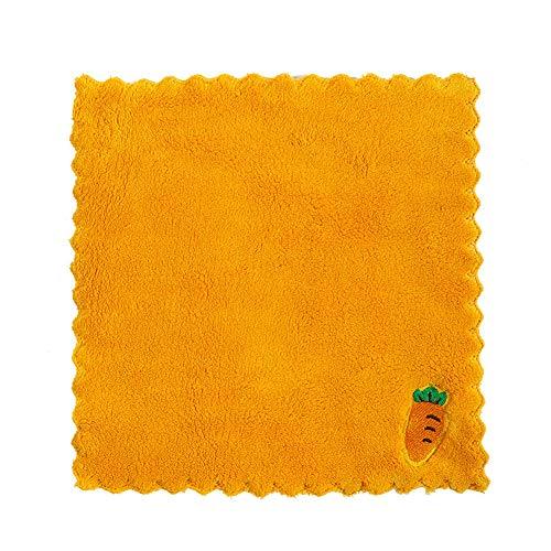 redcolorful toallas de hogar de terciopelo coral bordado trapos hogar coral polar bordado trapos cocina absorción de agua no desprendimiento lavavajillas paño amarillo rábano