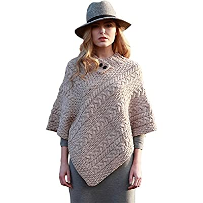 Ladies Irish Wool Poncho, Made in Ireland, 100% Real Irish Wool, One Size Fits All by