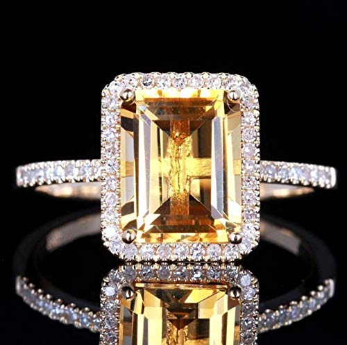 Kuyiuif 14K Gold Plated Emerald Cut 4ct Yellow Cubic Zirconia Cocktail Engagement Wedding Anniversary Rings Sterling Silver Yellow Topaz Rings for Women (10)