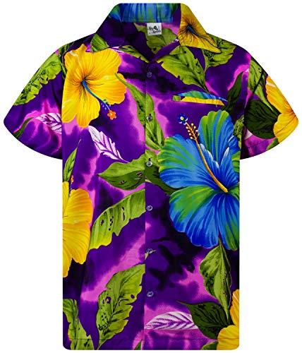 King Kameha Funky Chemise Hawaienne, Big Flower, Violet, M