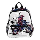 Sac à Dos Enfant Motocross Sac a Dos Garçons Livre Sac à Dos Maternelle Cartable Petit Sac à Dos pour Les Enfants 25.4x10x30 CM