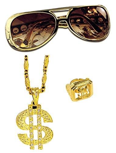 Panelize® Lude Macho BABO Prolethen Hiphop Rapper Set 3 teilig Brille Ring Kette