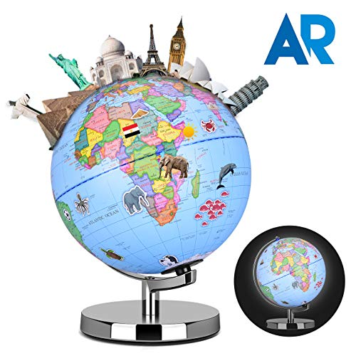 Smart Globe - Augmented Reality Educational World Geography, AR App Experience, Up to 10 Sections Educational Content, Realistic 3D Scenes, LED Light, STEM Toy Adventure Learning Toy Gift for Kids