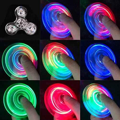 NKDD Luz LED Transparente Fidget Spinner Mano Top Spinner EDC Spiner Niños Adultos Juguete Light Fidget Spinner Transparente