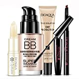 BIOAQUA DAY Protection BB Cream Waterproof Lip Balm Natural Makeup Eyebrow Pencil Brush 5PCS-SET 4g + 30ml + 8g + 30g + B011