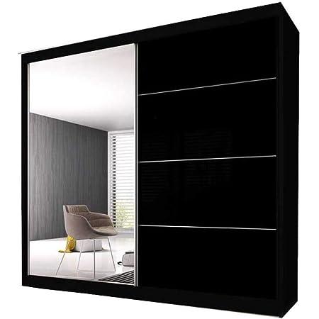 E-MEUBLES Armoire de Chambre avec 2 Portes coulissantes | Penderie (Tringle) avec étagères (LxHxP): 203x2180x61 Ben 31 (Noir/Noir+ Miroir)