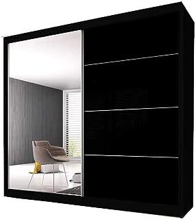 E-MEUBLES Armoire de Chambre avec 2 Portes coulissantes | Penderie (Tringle) avec étagères (LxHxP): 183x2180x61 Ben 31 (No...