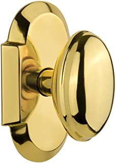 """Nostalgic Warehouse 712914 Cottage Plate Privacy Homestead Door Knob in Polished Brass, 2.375"""""""