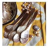 DUEBEL Set von 10 Rosa Perlmutt MOP Löffel für Kaviar Eier Serving (Rosa, 9×2.3cm) - 3