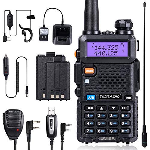 TIDRADIO UV-5R Ham Radio Handheld Walkie Talkies with Double Battery Earpiece Car Charger Hand Mic and Programming Cable Full Kit