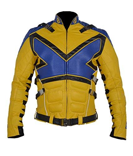 MSHC X-Men X PS V3 Blue & Yellow Muscles Sheep Leather Jacket (XL) Blue
