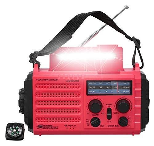 Weather Radio, Portable Emergency Solar Hand Crank Battery Powered AM FM SW NOAA Radio, Best Survival Camping Gear with 2000mAh Power Bank, LED Flashlight, Reading Lamp, USB Charging Port, SOS Alarm
