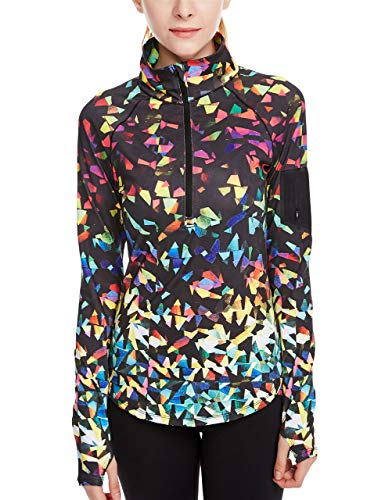 icyzone Damen Sport T-Shirt Langarm Laufshirt - 1/2 Reißverschluss Fitness Sweatshirt Laufjacke Running Tops (L, Fantastic)